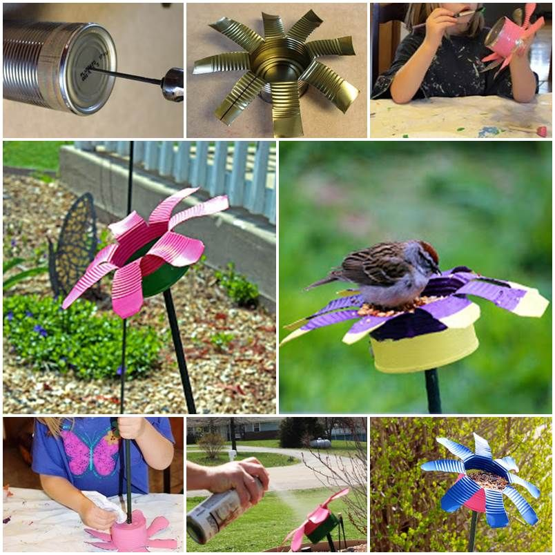 Diy tin can flower bird feeder diy pets projects for Diy tin can projects