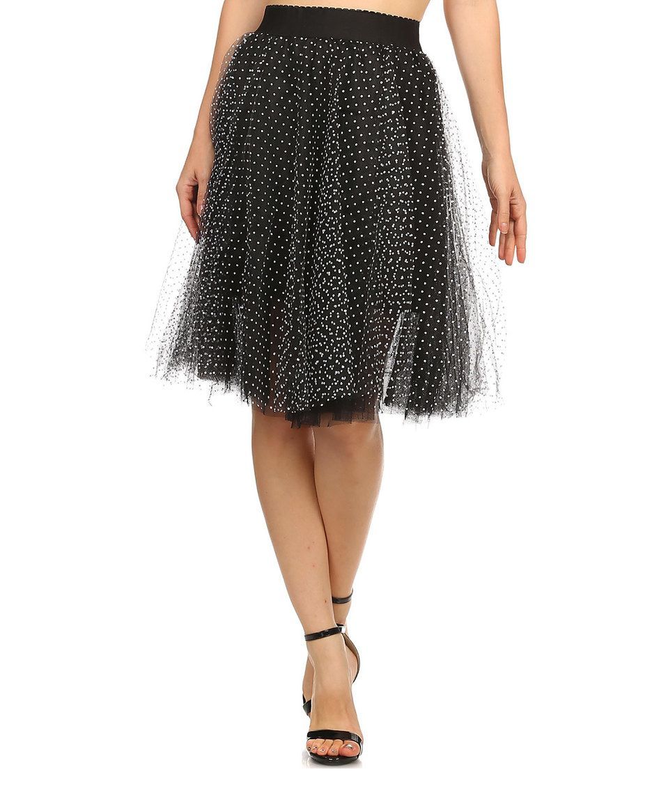 Another great find on #zulily! Kokette Black Polka-Dot Layered Midi Skirt by Kokette #zulilyfinds