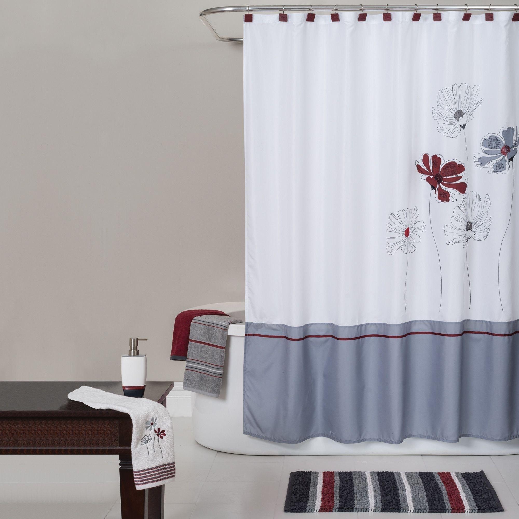 Elegant Red Striped Shower Curtain
