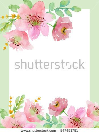 Painted Watercolor Composition Of Flowers In Pastel Colors Frame