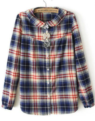Blue Long Sleeve Plaid Bow Embellished Blouse pictures