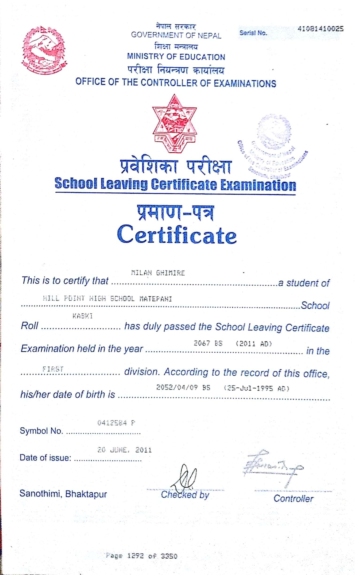 certificate leaving nepal education ministry student nhpc secondary np doc