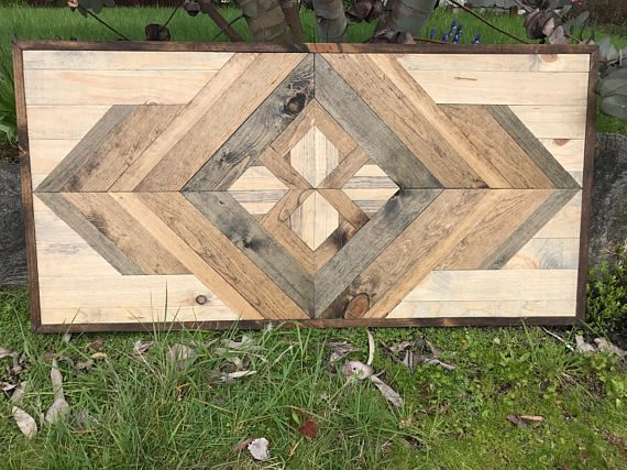 Rustic Modern Geometric Style Wood Pattern Wall Art