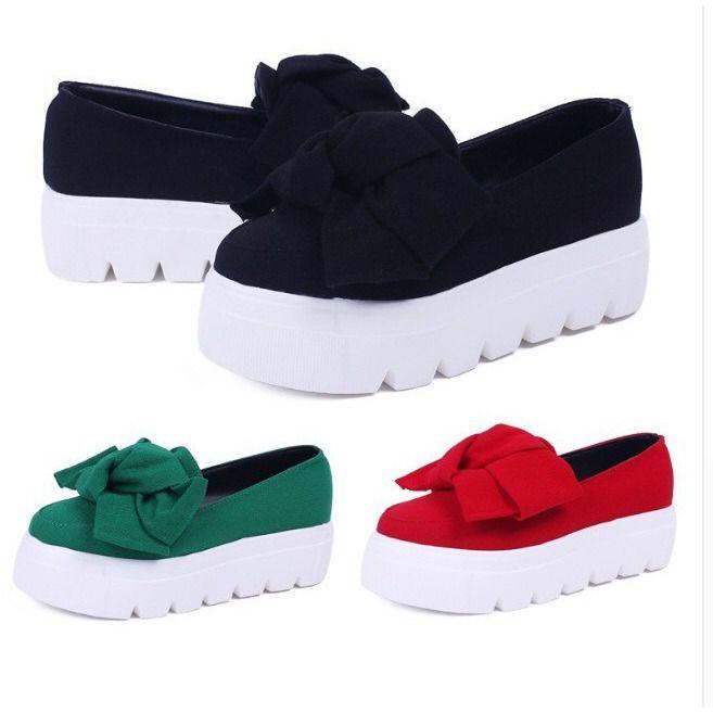 Ladies Platform Bow Loafers