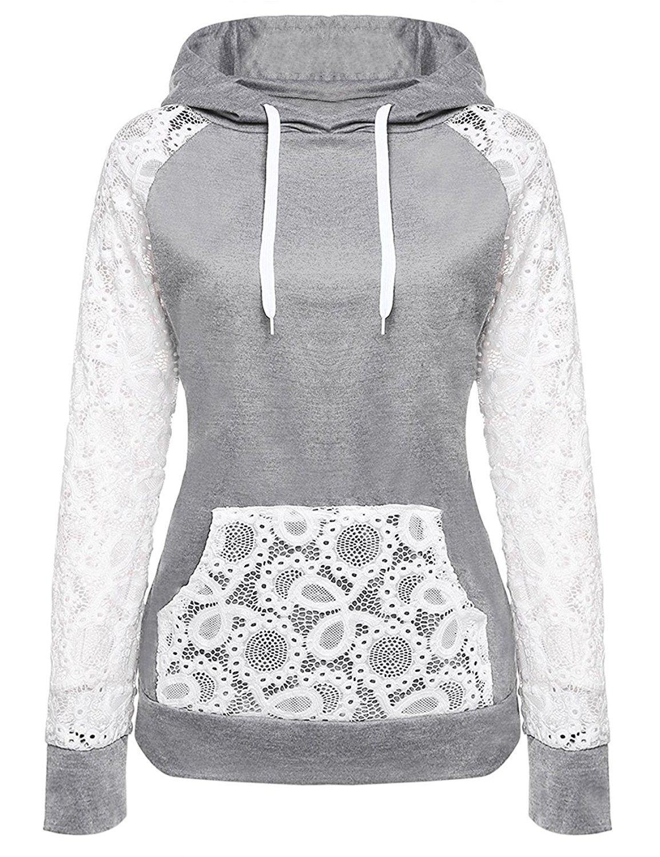 Women's Clothing, Hoodies & Sweatshirts, Women's Stylish Sheer Lace Floral  Long-Sleeve Hoodies Loose Pullover Sweatshirt … | Hoodie fashion, Clothes,  Hoodies womens