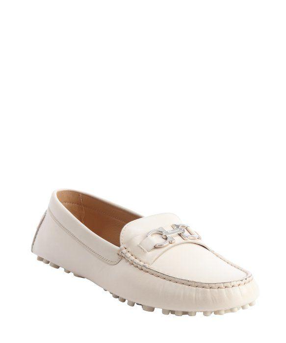 Salvatore Ferragamo ivory leather gancio strap loafers