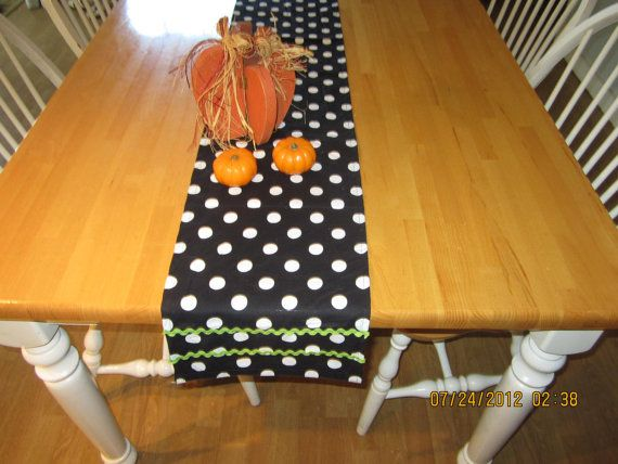 Cottage Chic Black Polka Dot Table Runner  cotton 72 inch rick rack Lime Green Halloween