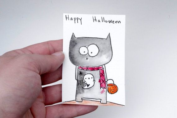 Halloween Artist Trading Card Black Cat ACEO Kawaii Cat by Cyclop
