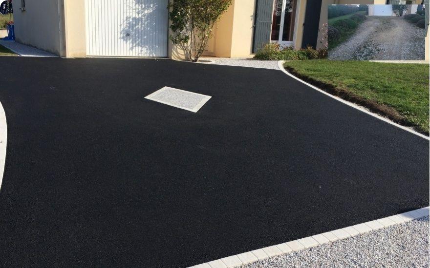 Exemple Allee De Garage En Enrobe Noir A Chaud Entreprise Verite Charente Amenagement Jardin Amenagement Exterieur Allees Jardin