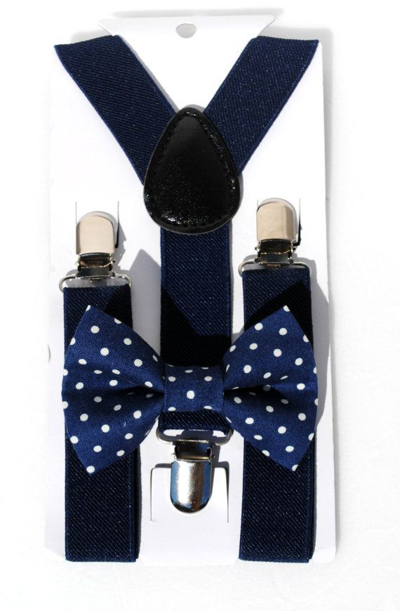 Boys Navy With White Polka Dots Clip On Cotton Bow Tie Bowtie by amy2004marie
