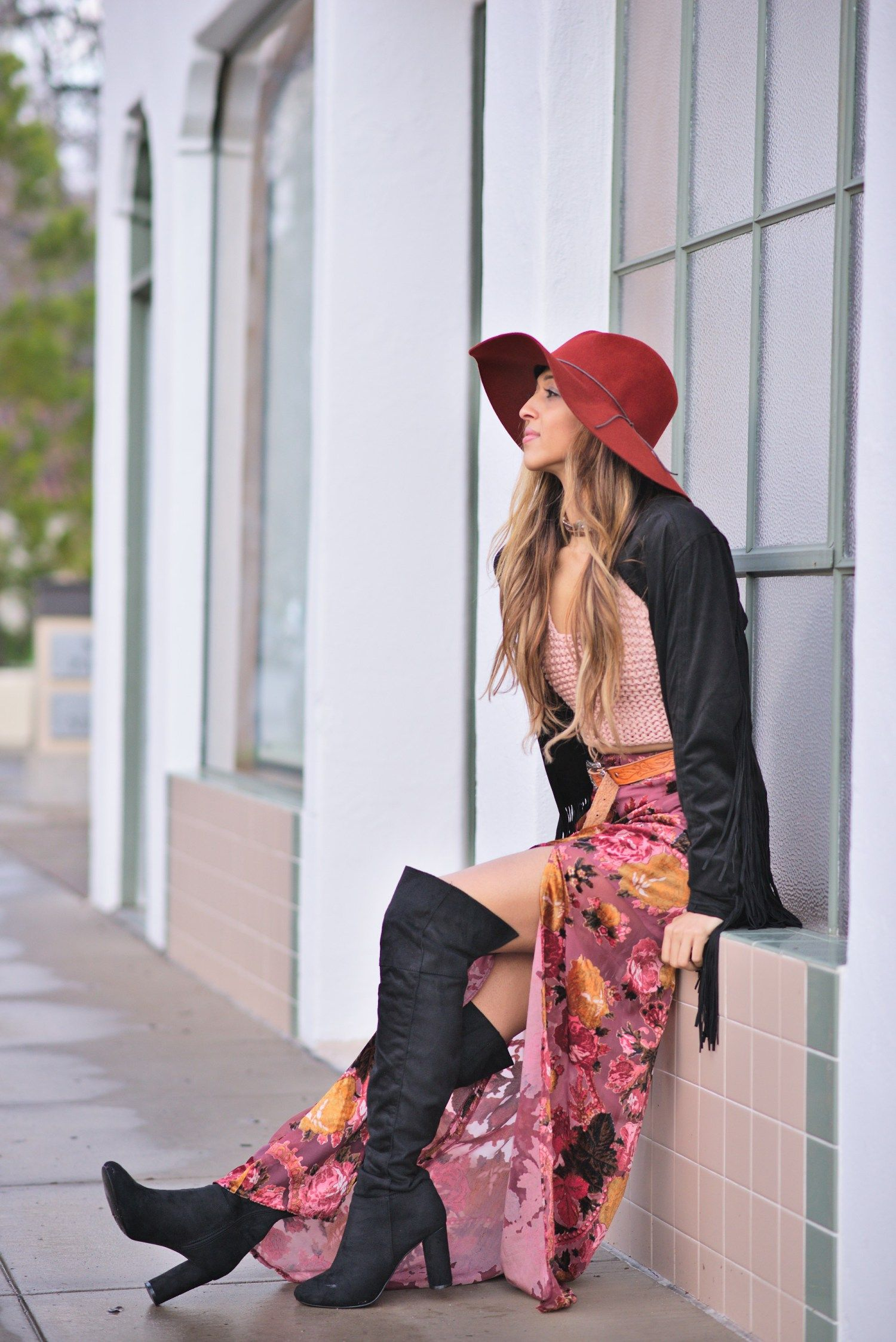 cuppajyo-sanfrancisco-fashion-lifestyle-blogger-velvet-petals-maxi-skirt-accents-crochet-fringe-jacket-bohochic-8