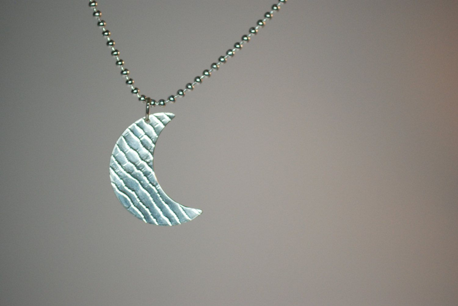 Sterling silver cresent moon pendant by SilverByKat on Etsy