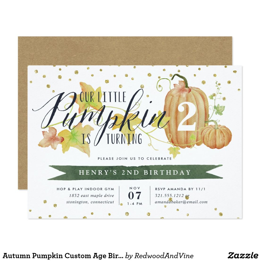 Autumn Pumpkin Custom Age Birthday Party Invitation Fall In Love With These Rustic Elegant Kids Invitations An Color Palette Of