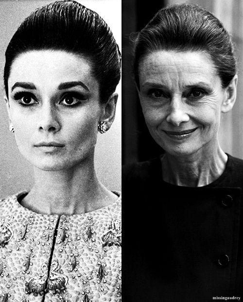"""""""A medida que pasan los años, nos vemos cambios en ti mismo, pero tienes que hacer frente a eso - todo el mundo pasa a través de él ... O tienes que hacer frente a él y le dices a ti mismo que no vas a tener dieciocho años de toda la vida, o estar preparado para un golpe terrible cuando ves las arrugas y pelo blanco. Envejecer no me asusta, pero me gustaría no tener que, porque me gusta la vida mucho. """"Audrey Hepburn"""