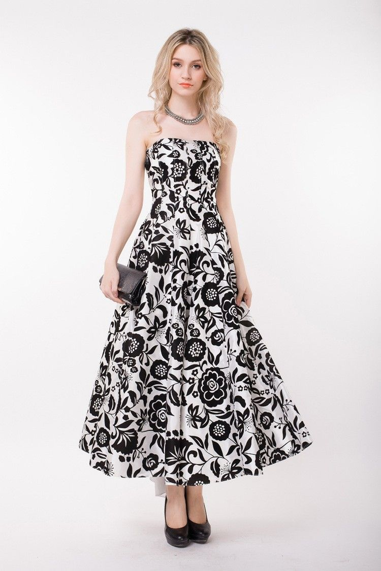 Stylish strapless floral print long wedding guest dress ck