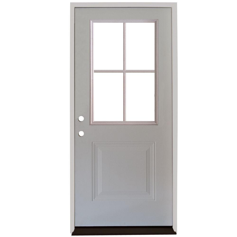 Steves Sons 36 In X 80 In Premium 4 Lite 1 Panel Primed White Steel Prehung Front Door With 4 In Wall S21h 4lp 36 4ri Steel Front Door Front Door French Front Doors