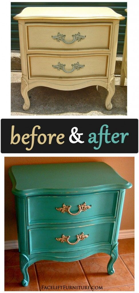 Turquoise French Provincial Nightstand - Before & After - Facelift Furniture - Turquoise French Provincial Nightstand - Before & After French