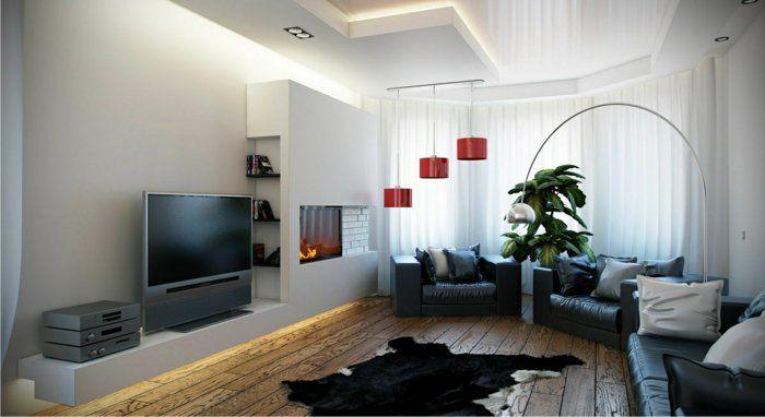 hängeleuchten wohnzimmer kamin fellteppich pflanzen Leuchten