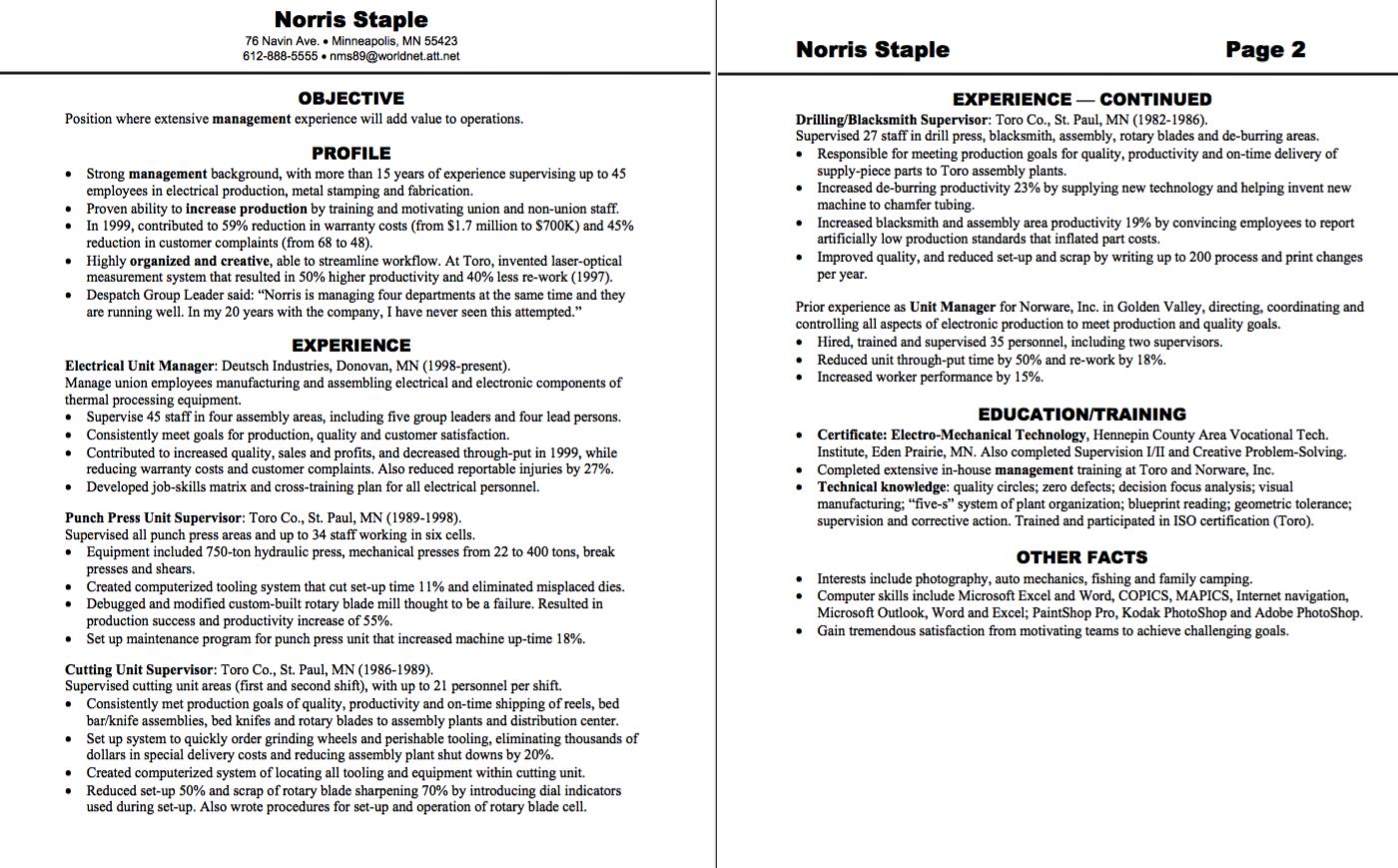electrical unit manager resume sample - http://exampleresumecv.org ...