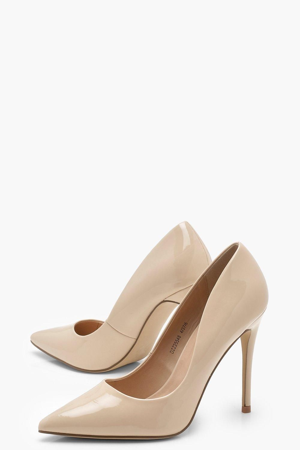 Patent Pointed Toe Court Shoes Boohoo Pointed Toe Shoes Beige Court Shoes Court Heels