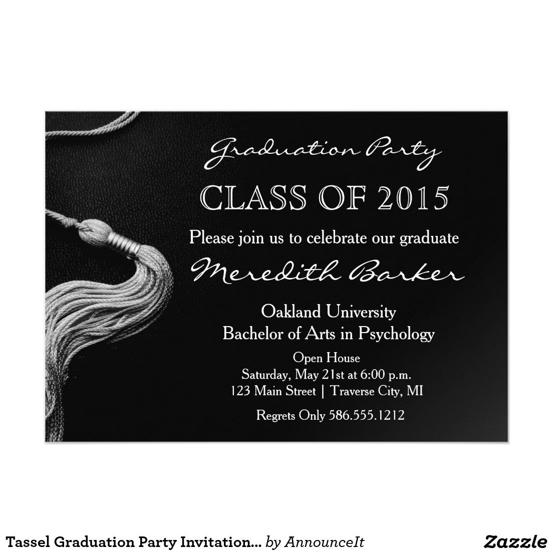 Tassel Graduation Party Invitation Class of 2015 5 X 7 – 2015 Graduation Party Invitations