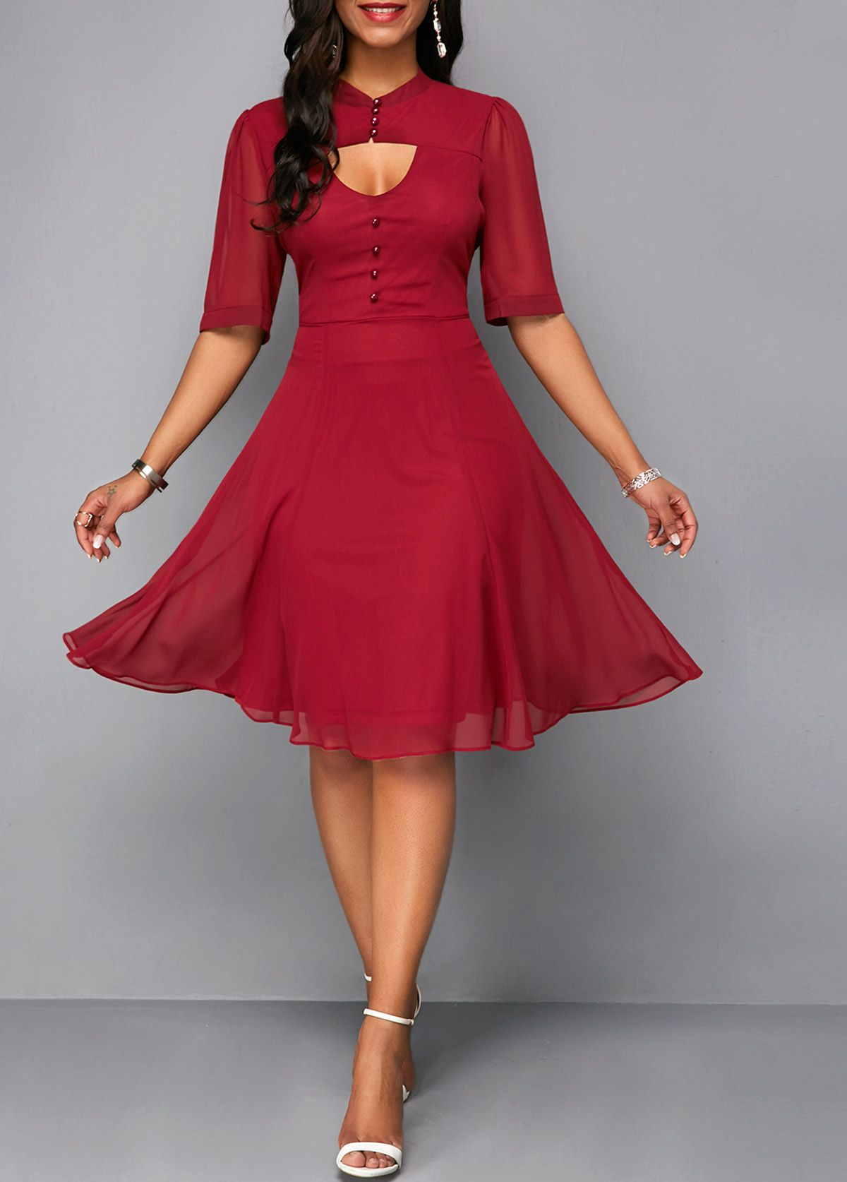 f0cdd6cc015 Wine Red Cutout Front Zipper Back Chiffon Dress