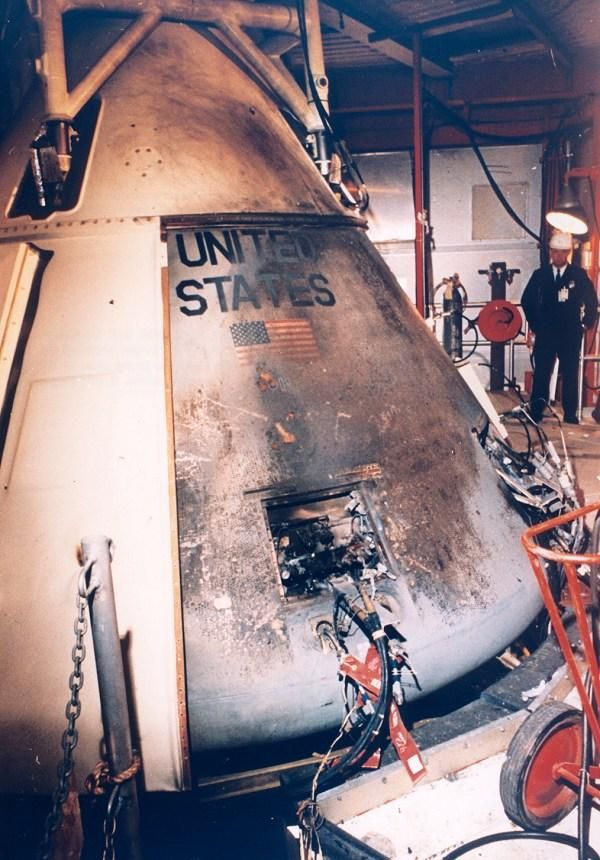 "After the fire. The Command Module of Apollo 1 that took the lives of astronauts Virgil ""Gus"" Grissom, Edward H. Whi… 