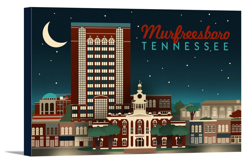 Canvas murfreesboro tennessee retro style skyline