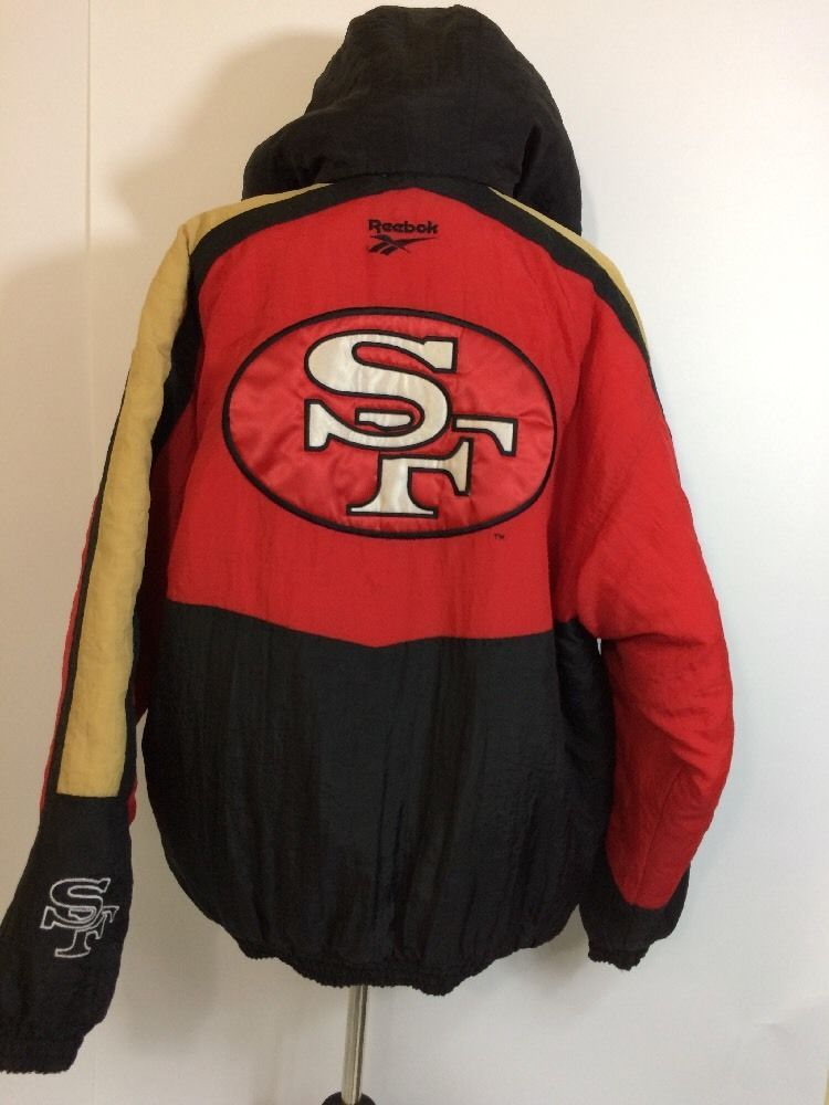 eb0eb378 SF 49ers Jacket Reebok Mens Size L Pullover Coat Large San Francisco ...