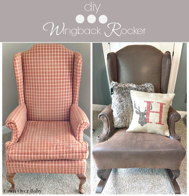Diy Rustic Reupholstered Wing Back Rocker With Images Baby