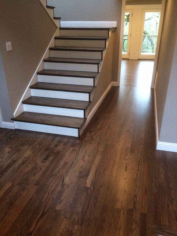 Refinished hardwood stairs and floor Rustic wood floors