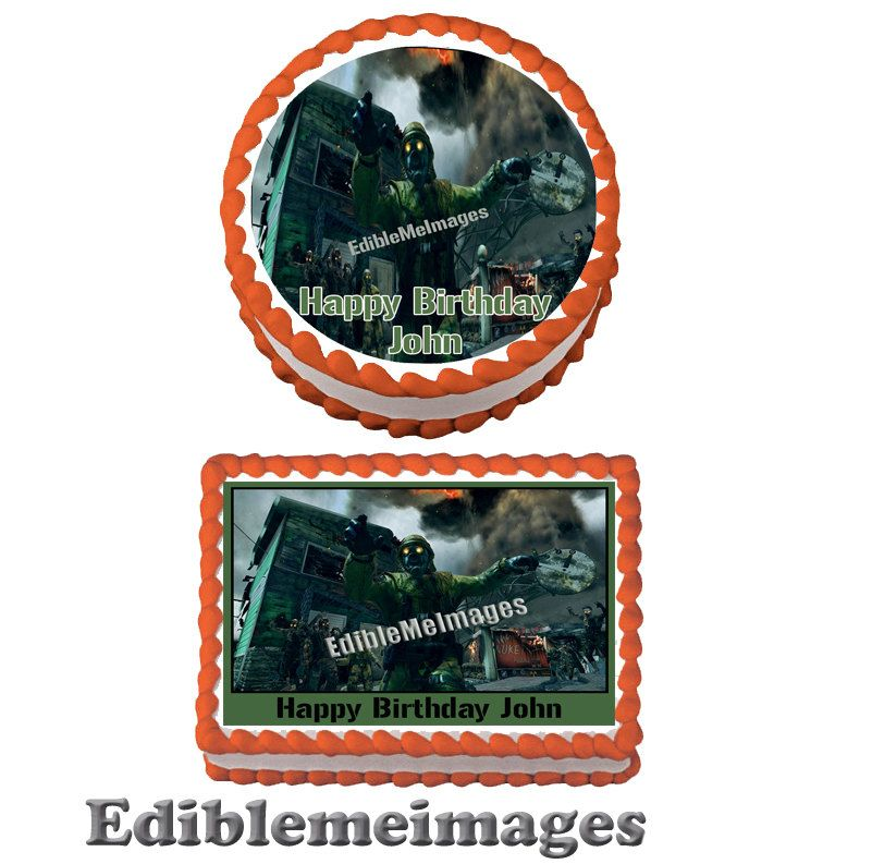 ZOMBIES CALL of Duty Black ops 2 II Birthday Party Edible Cake
