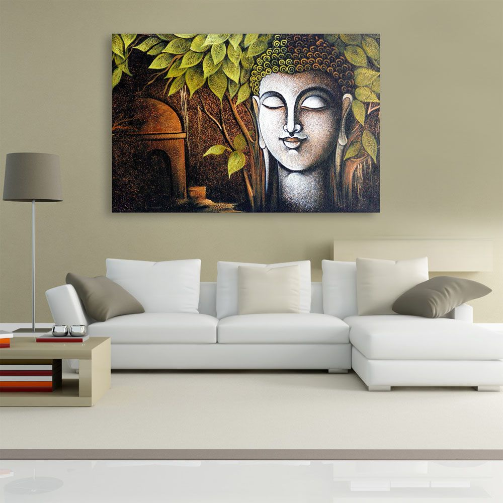 Canvas Painting Beautiful Buddha Art Wall Painting For Living Room Bedroom Office Hotels Drawing Room 91cm X 61cm Inephos Buddha Art Painting Buddha Art Buddha Painting Canvas #wall #art #painting #for #living #room