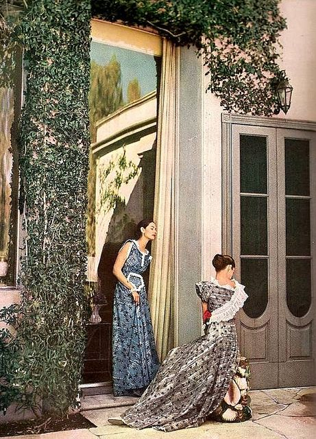 Fashion 1940s Two Female Models Flirty 40s Style Evening: Evening Dresses, Photo By Louise Dahl-Wolfe, Harper's