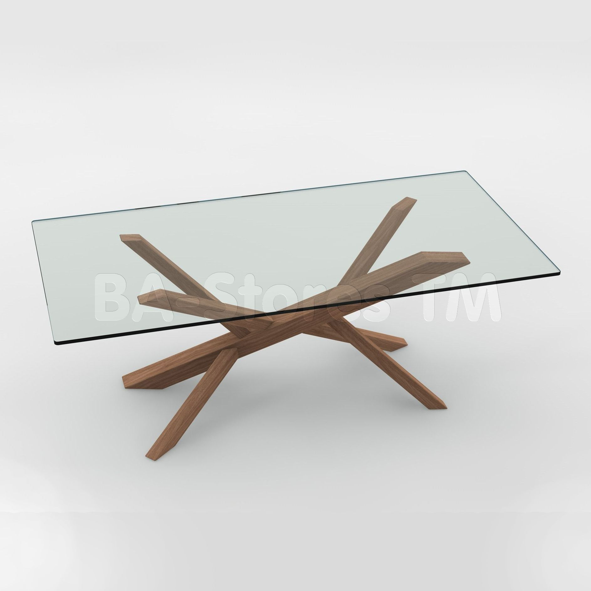 Tree Dining Table In Walnut In Clear Glass Top By