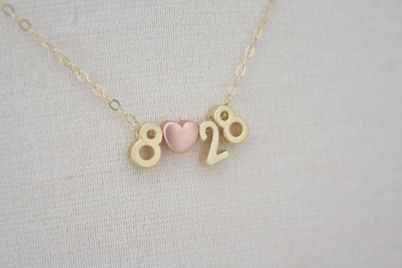 Dainty Number Heart Necklace - dollielinks, wedding jewelry, wedding gift , date necklace