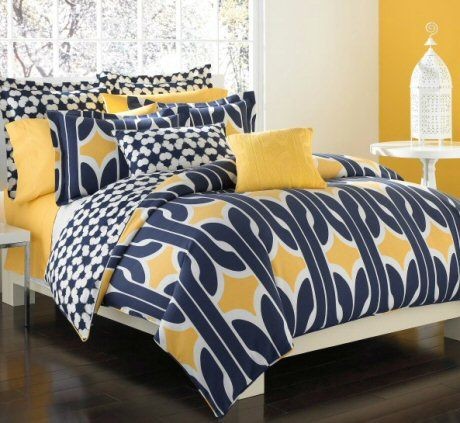 Dvf Studio Graphic Chain Link Bedding Blue Yellow Bedrooms