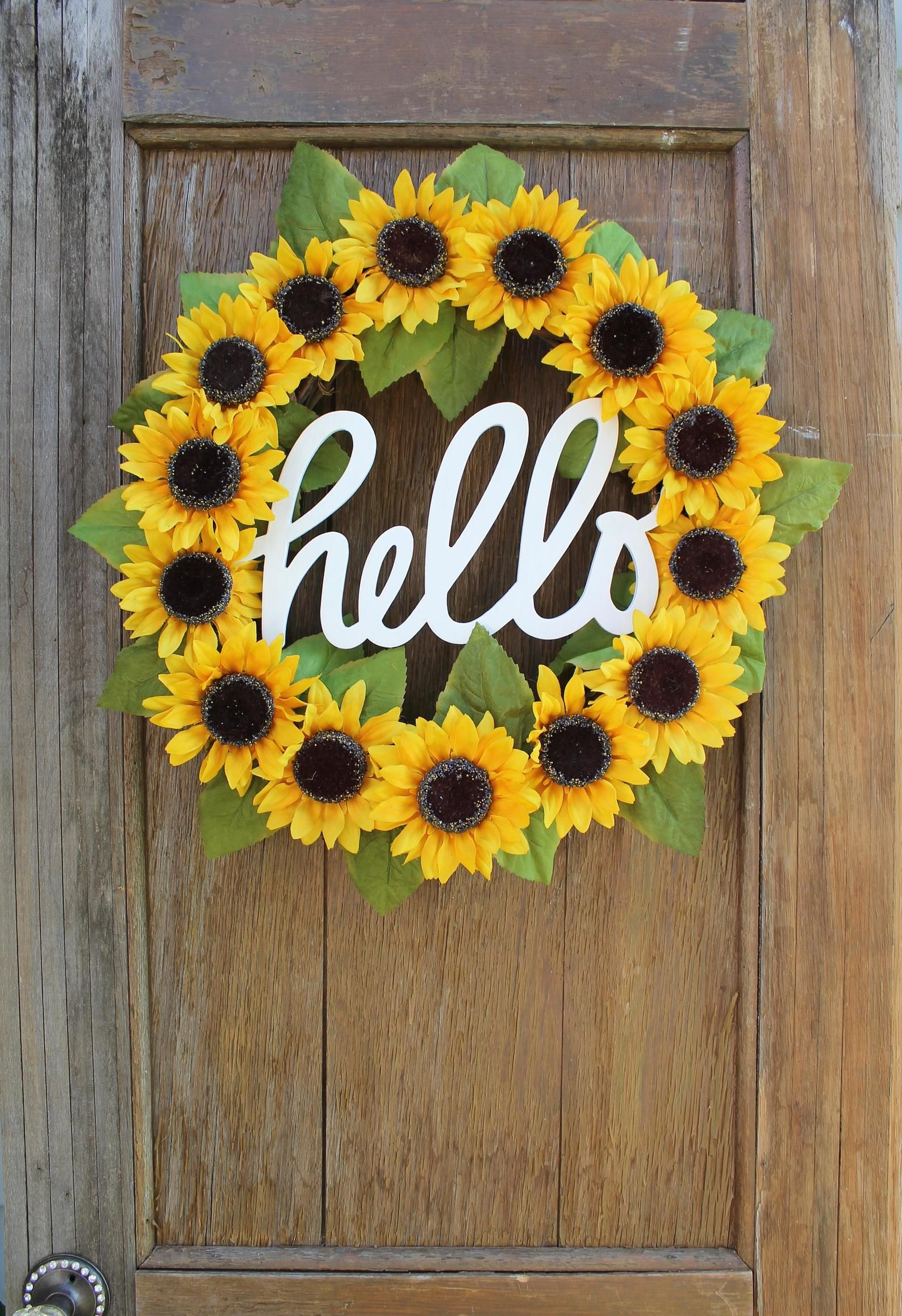 Photo of Sunflower wreath, spring wreath, summer wreath, hello wreath, sunflower decor, front door wreath, hello sign, yellow wreath, autumn wreath