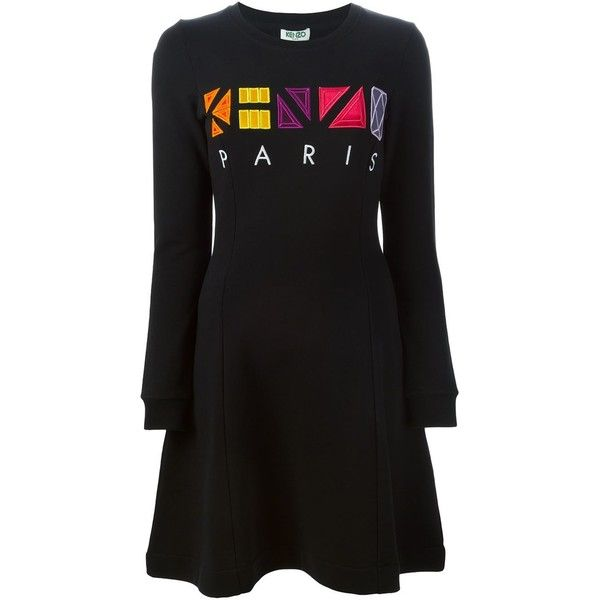 Kenzo Kenzo Paris dress ($415) ❤ liked on Polyvore featuring dresses, black, cotton dress, embroidered cotton dress, round neck long sleeve dress, embroidered dress and long sleeve dress