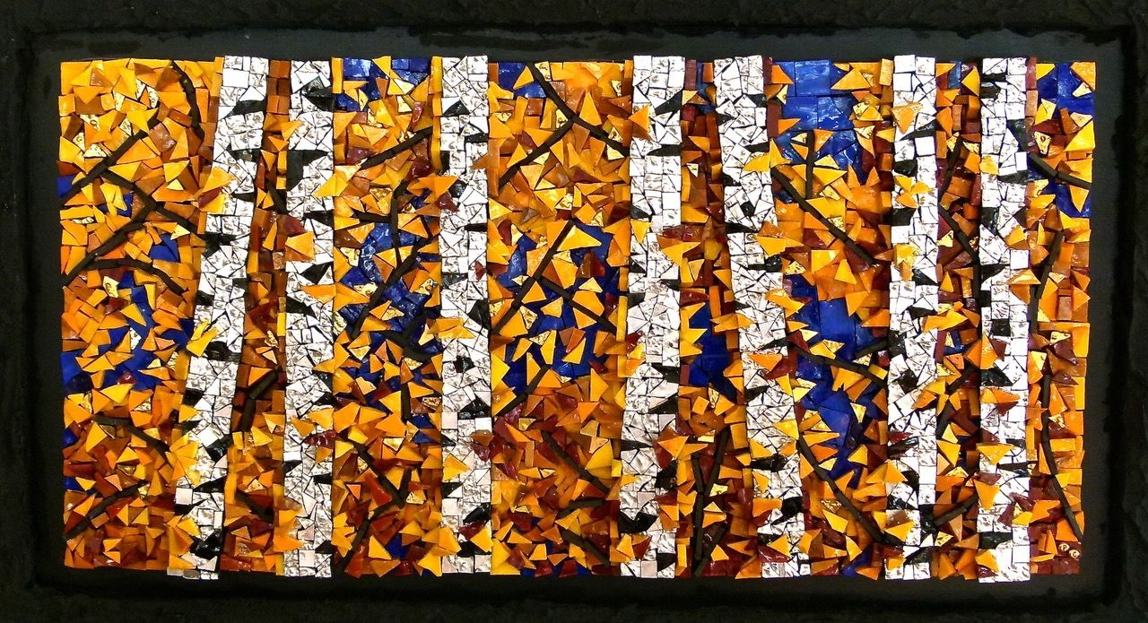 """""""October"""", included in The 16th Annual Mosaic Arts International Exhibition (MAI), sponsored by the Society of American Mosaic Artists (SAMA)."""
