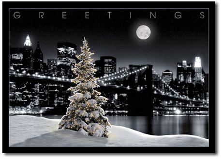 Snowy tree with new york city skyline holiday cards by www holidaycardwebsite com