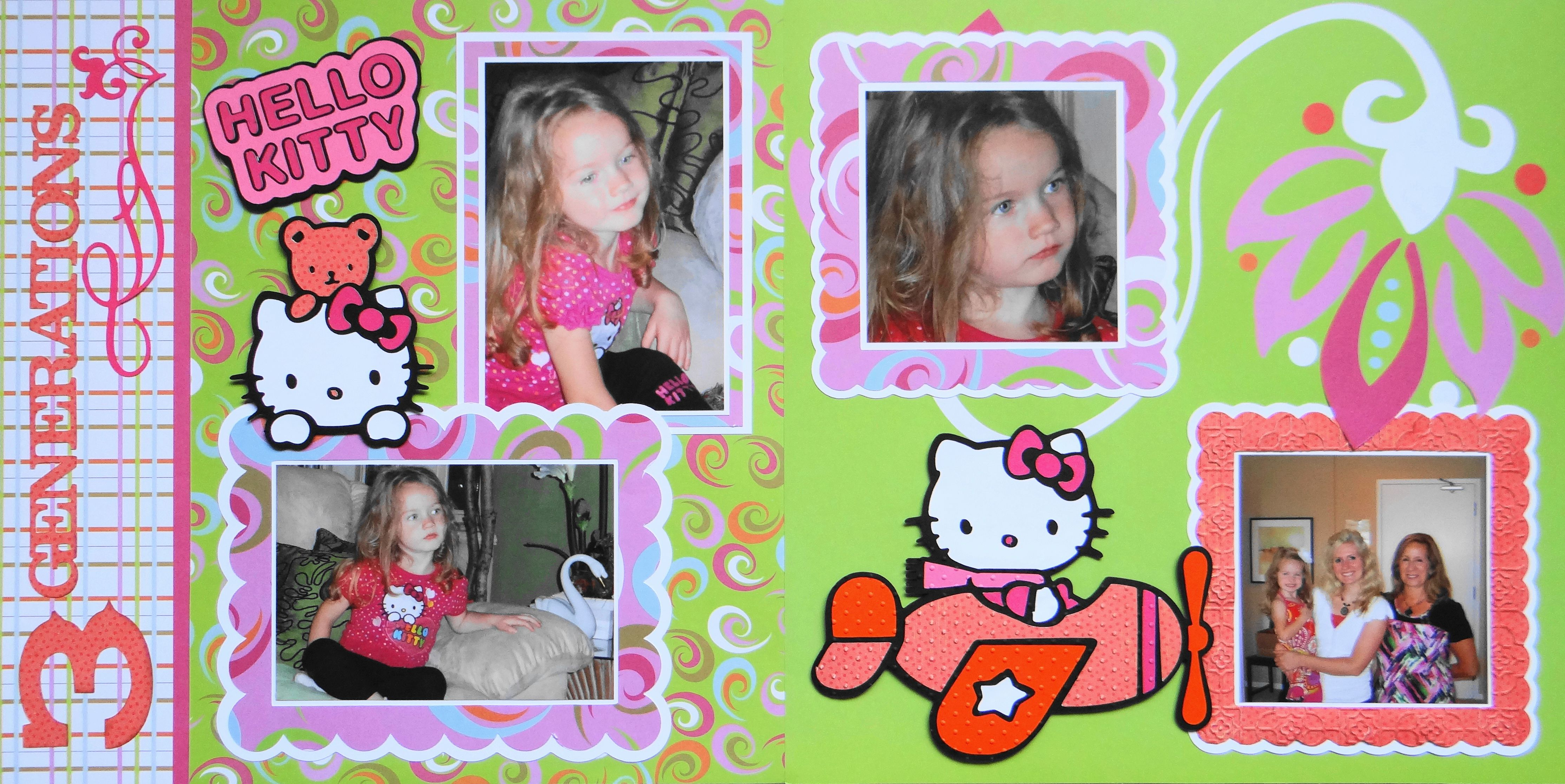 Scrapbook ideas hello kitty - Scrapbook Page The Flower Girl Has Arrived For The Wedding With Hello Kitty
