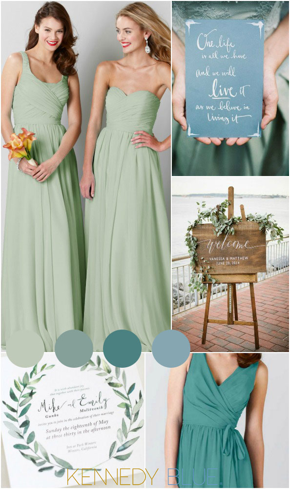 d545f837d17 A simple and chic sage green wedding color palette with hints of teal and  blue.