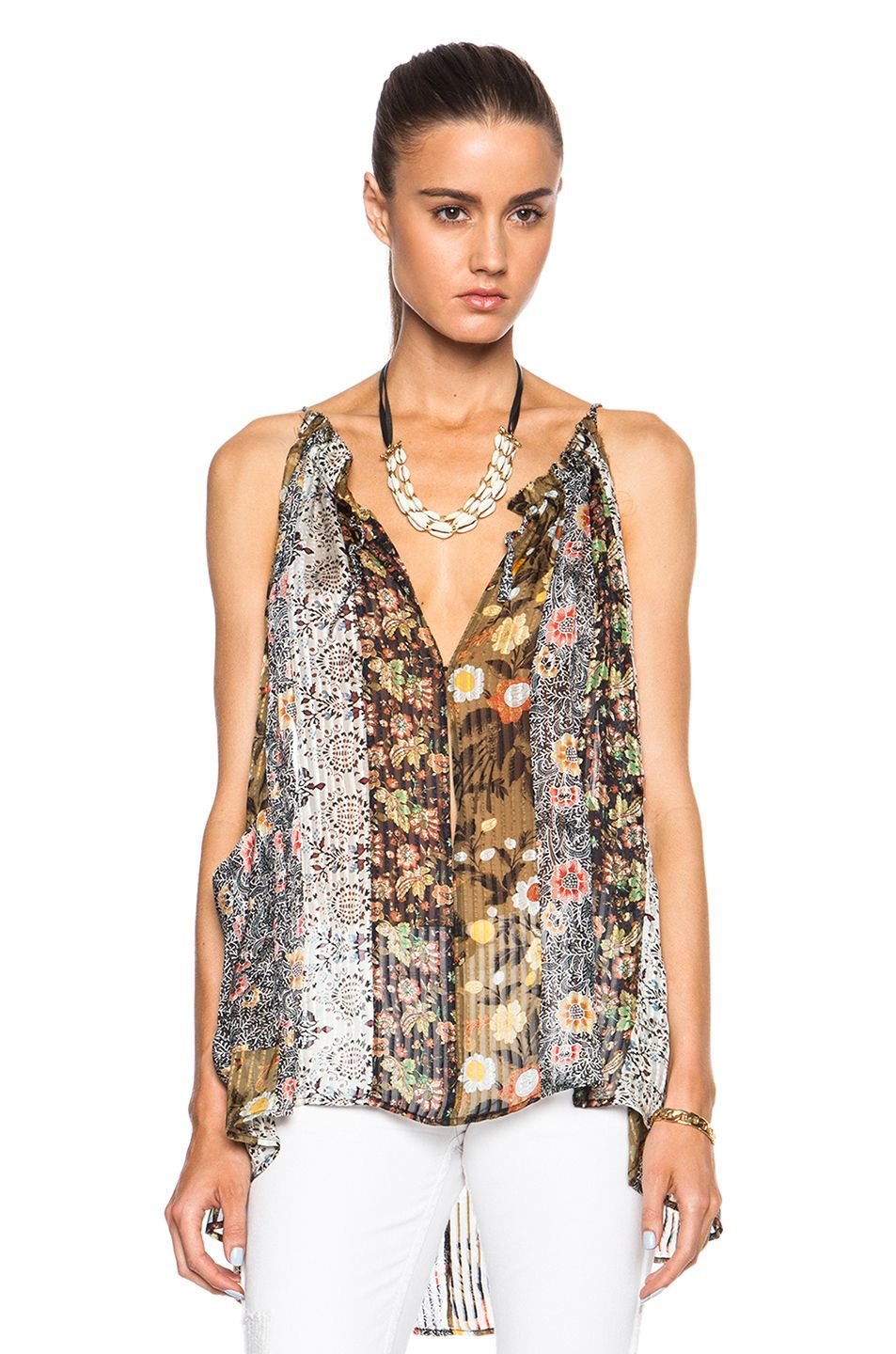 Image 1 of Isabel Marant Airy Colorblock Print Top in Khaki