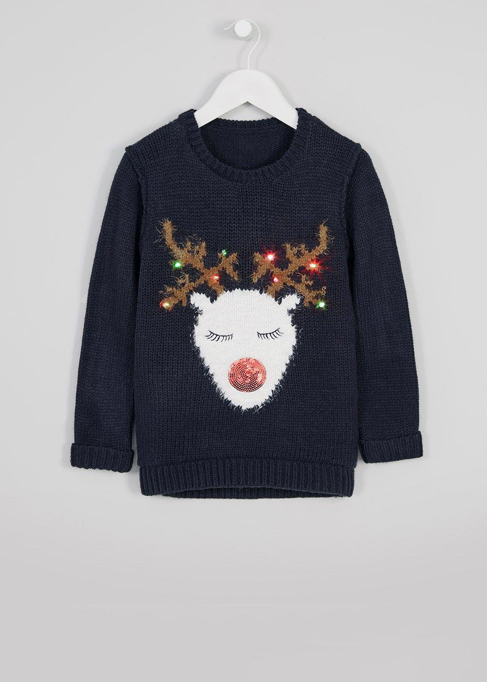 girls light up reindeer christmas jumper 3 13yrs. Black Bedroom Furniture Sets. Home Design Ideas