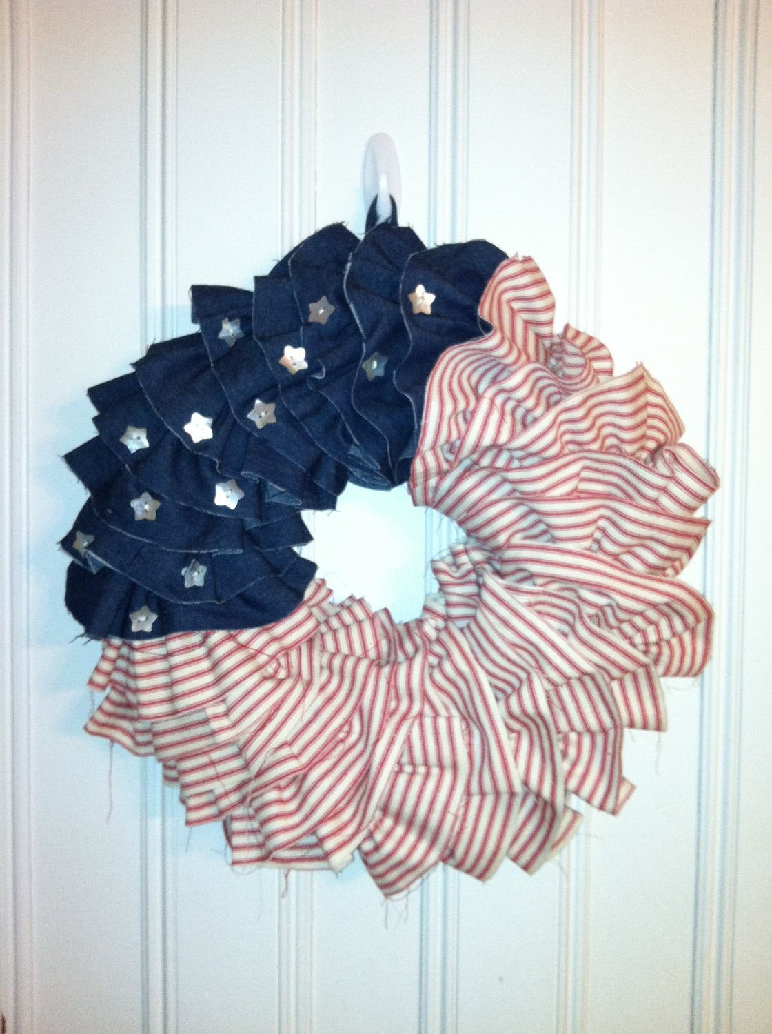 Red, White and Blue Shabby Chic Ruffle Wreath. $55.00, via Etsy.