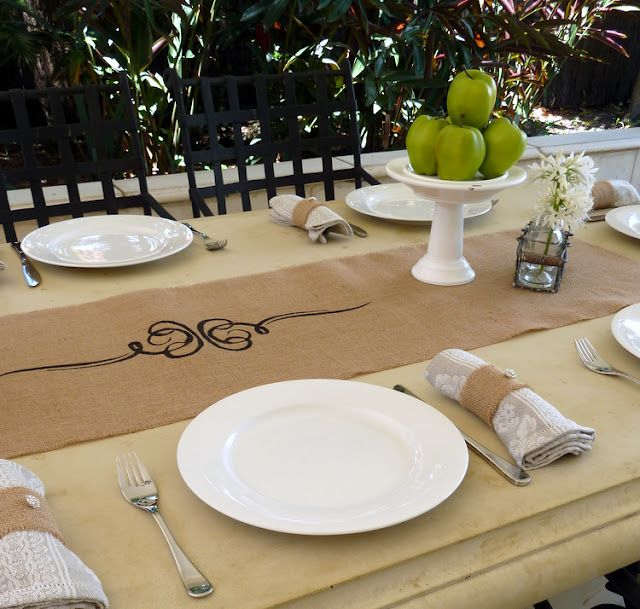 Burlap Table Runner And Napkin Ring Country Party Ideas