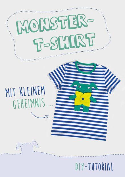 DIY-Tutorial für ein T-Shirt mit Monster - Applikation | Nähanleitung & Vorlage