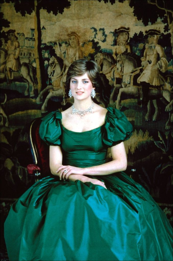 princess diana emerald green gown engagement portrait
