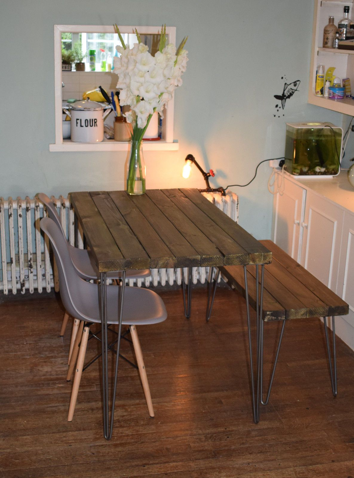 Industrial Kitchen Table Furniture Rustic Industrial Kitchen Table X2 Chairs And Bench Hairpin Steel